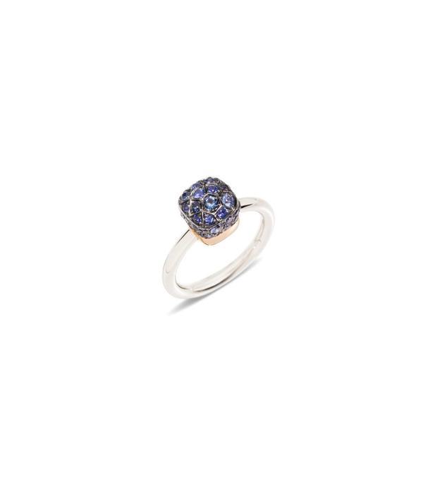 Pomellato Nudo Ring goud 18K Rosé/Wit Goud blauw saffier