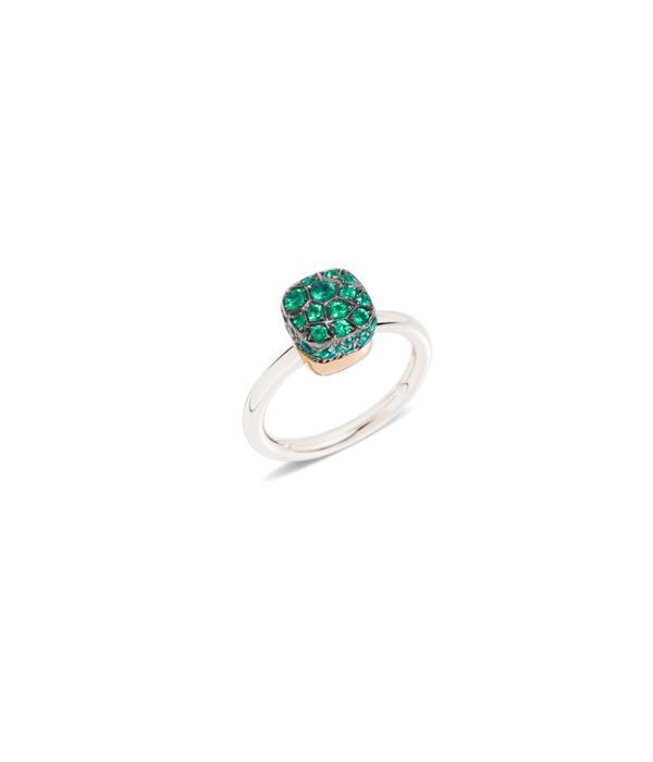 Pomellato Nudo Ring goud 18K Rosé/Wit Goud smaragd