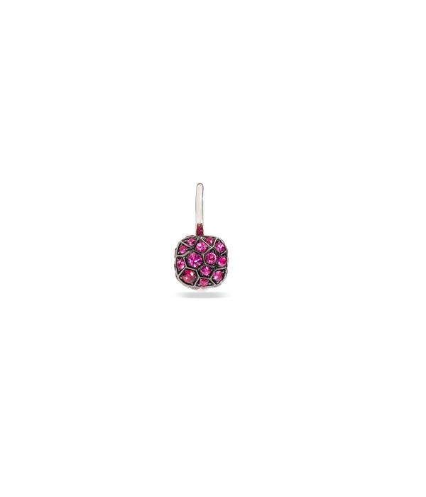 Pomellato Nudo Earring Drops 18 Carat Rose and White Gold with Ruby
