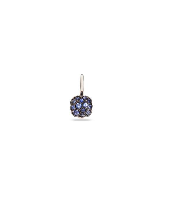 Pomellato Nudo Earring Drops 18 Carat Rose and White Gold with Blue Sapphire