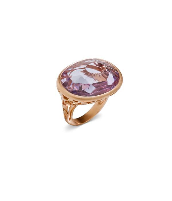 Pomellato Arabesque Ring goud 18K Roségoud Arabesque mat amethist