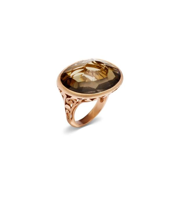 Pomellato Arabesque Ring Gold 18 Carat Rose Gold Arabesque Smokey Quartz