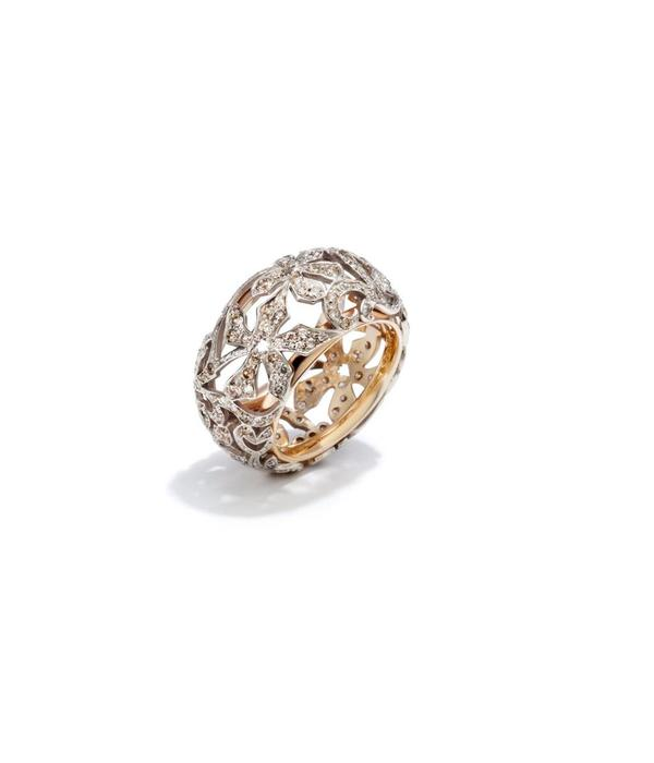 Pomellato Arabesque Ring Brown Diamond with 18 Carat Rose and White Gold