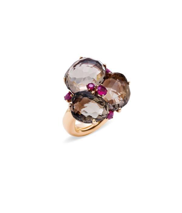 Pomellato Bahia Ring Gold 18 Carat Rose Gold Bahia Smokey Quartz/Ruby