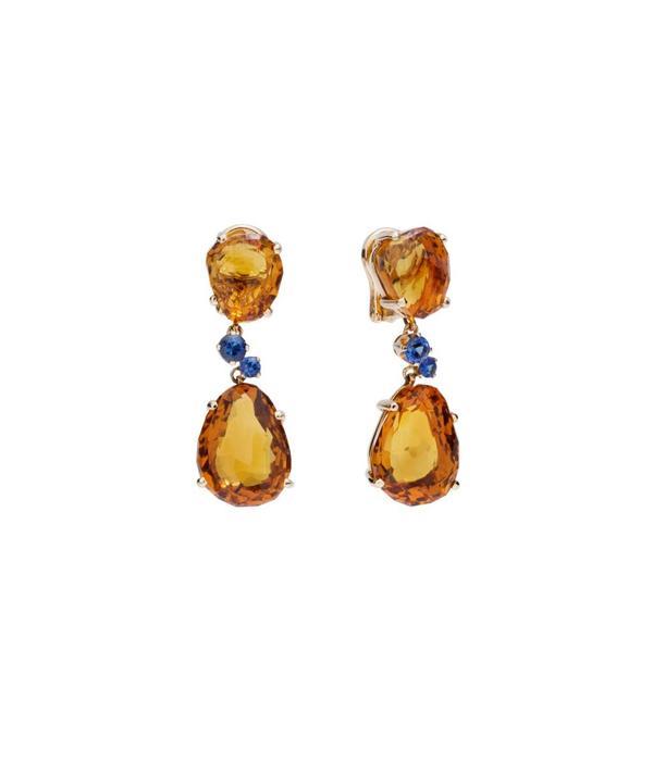Pomellato Bahia Earring Drops 18 Carat Rose Gold Madeira Quartz/Sapphire