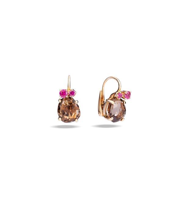 Pomellato Bahia Earring Drops 18 Carat Rose Gold Smokey Quartz Ruby