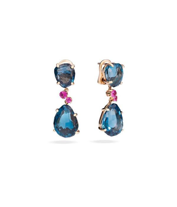 Pomellato Bahia Earring Drops 18 Carat Rose Gold london Topaz Pink Sapphire