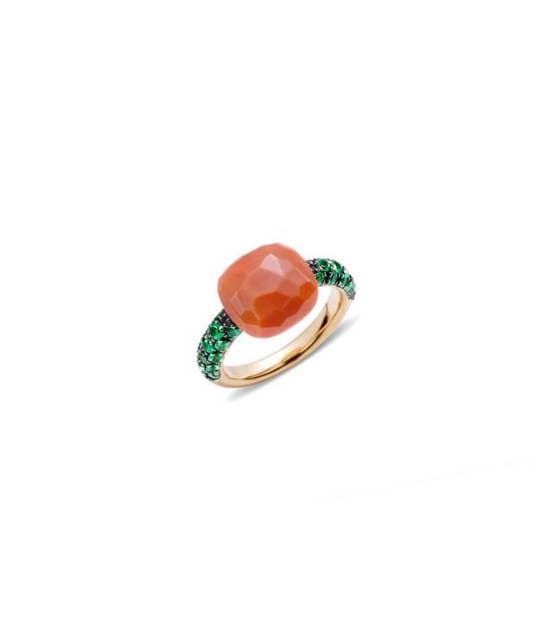 Pomellato Capri Ring Gold 18 Carat Rose Gold Capri Coral Green Garnet