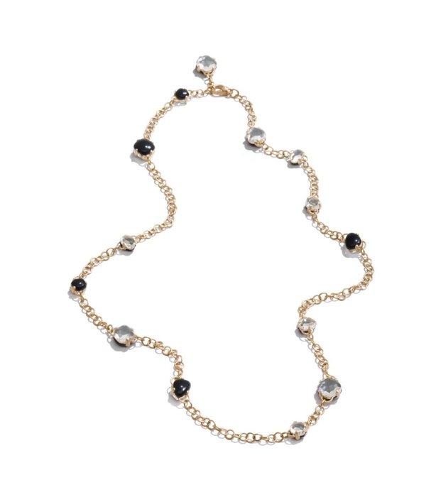 Pomellato Capri Collier18K Roségoud mat bergkristal onyx