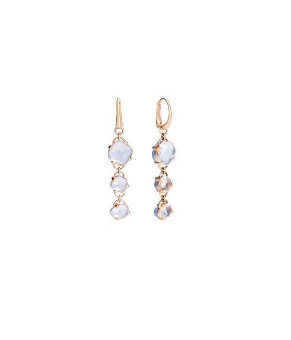 Pomellato Capri Earring Drops 18 Carat Rose Gold Rhinestone Chalcedony