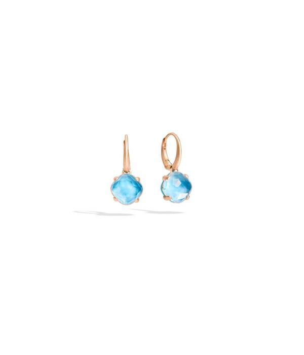 Pomellato Capri Earring Drops 18 Carat Rose Gold Rhinestone Turqouise