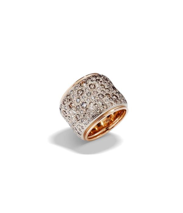 Pomellato Sabbia Ring Brown Diamond with 18 Carat Rose and White Gold