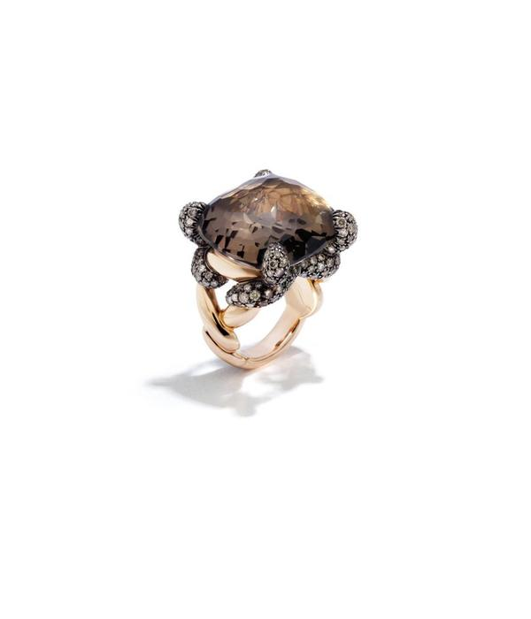 Pomellato Tango Ring Brown Diamond 18 Carat Rose Gold with Smokey Quartz