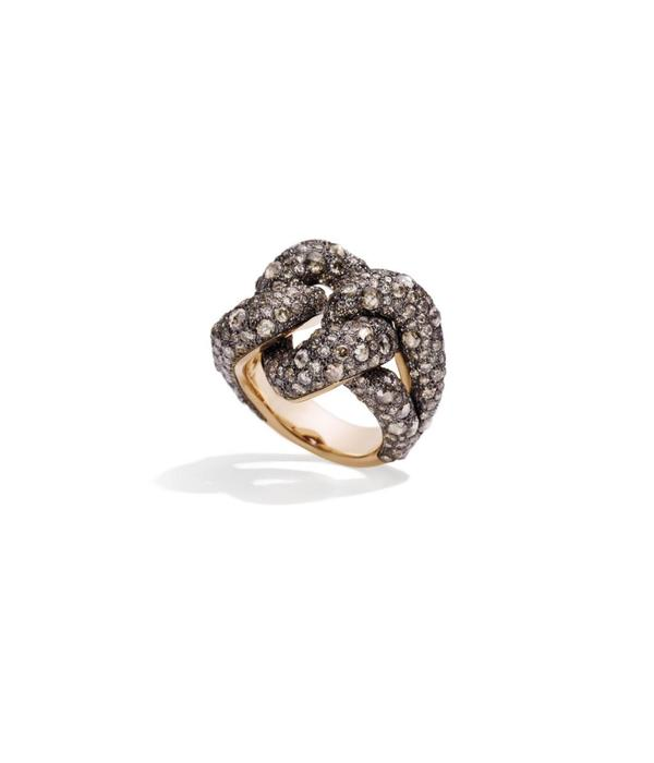 Pomellato Tango Ring Diamond Brown Diamond Silver/Gold Gourmette