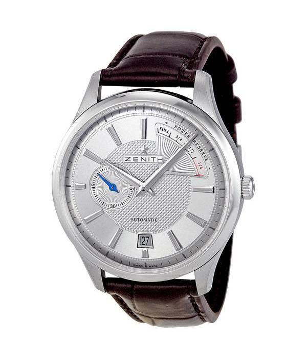 Zenith Elite Captain Power Reserve Horloge Staal / Zilver / Crocoleder