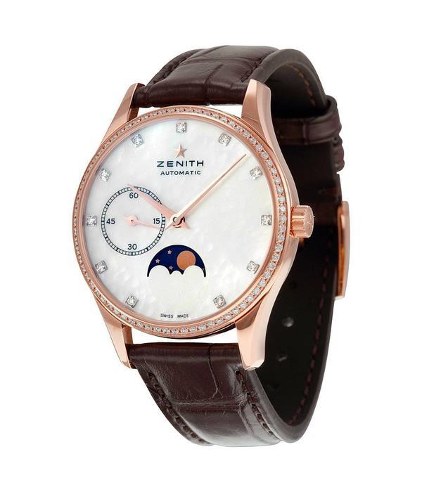 Zenith Elite Ultra Thin Lady Moonphase Horloge Roségoud / Parelmoer / Crocoleder