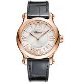 Chopard Happy Sport 36mm Horloge Roségoud / Zilver / Alligatorleder