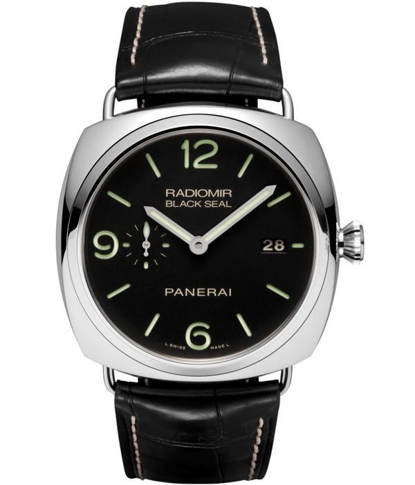 Officine Panerai Radiomir Black Seal 3 Days Automatic 45mm Horloge Staal / Zwart / Alligatorleder