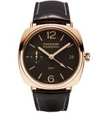 Officine Panerai Radiomir 3 Days GMT Oro Rosso 47mm Horloge Roségoud / Bruin / Leder