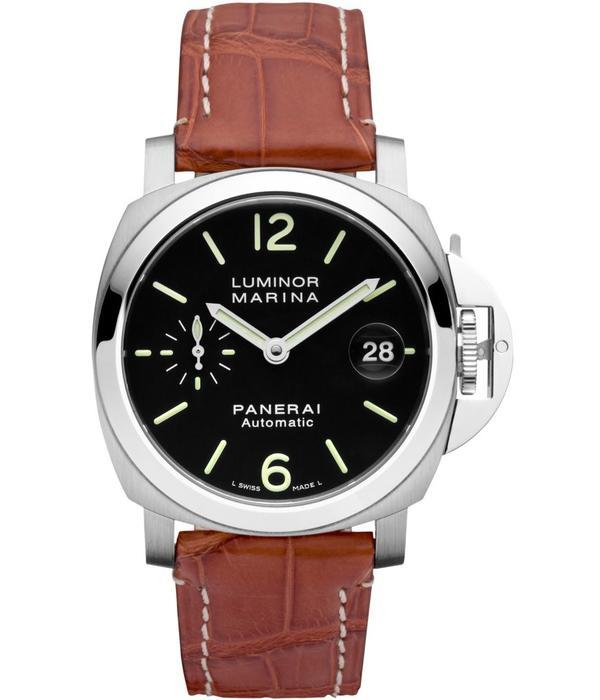 Officine Panerai Luminor Marina 40mm Horloge Staal / Zwart / Leder