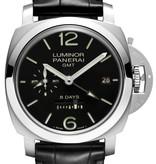 Officine Panerai Luminor 1950 8 Days GMT 44mm Horloge Staal / Zwart / Kalfsleder