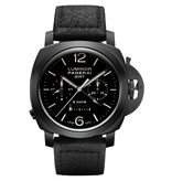 Officine Panerai Luminor 1950 Chrono Monopulsante 8 Days GMT 44mm Horloge Keramiek / Zwart / Leder