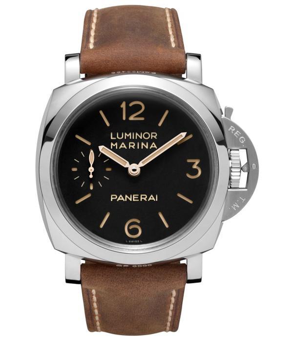 Officine Panerai Luminor Marina 1950 3 Days 47mm Horloge Staal Zwart / Leder