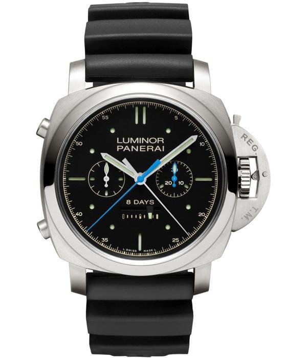 Officine Panerai Luminor 1950 Rattrapante 8 Days 47mm Horloge Titanium / Zwart / Rubber