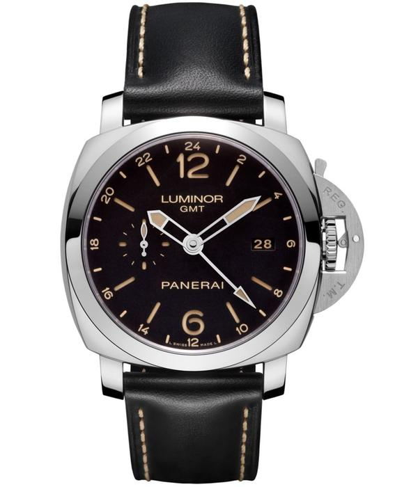 Officine Panerai Luminor 1950 3 Days GMT 24H 44mm Horloge Staal / Zwart / Kalfsleder