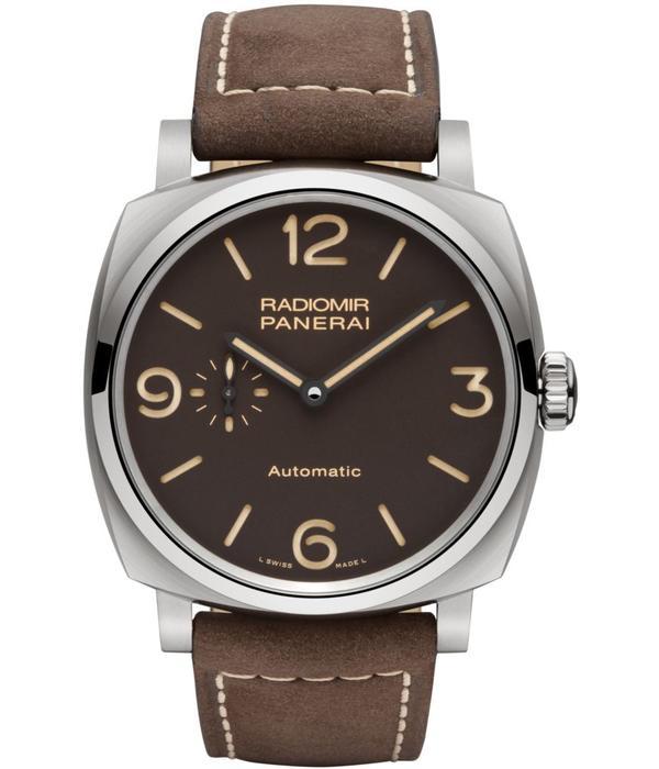 Officine Panerai Radiomir1940 3 days auto titanio 45MM Horloge Staal / Bruin / Leder