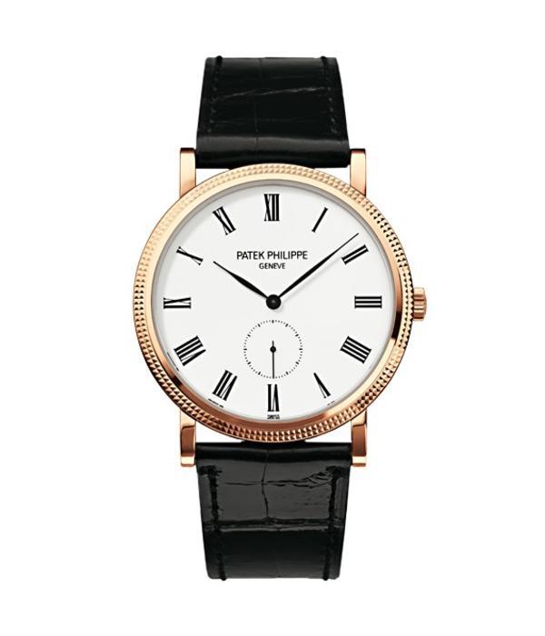 Patek Philippe Calatrava Horloge Roségoud / Wit / Alligatorleder