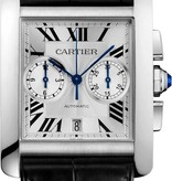 Cartier Tank Anglaise MC Chronographe 34mm Horloge Staal / Zilver / Alligatorleder