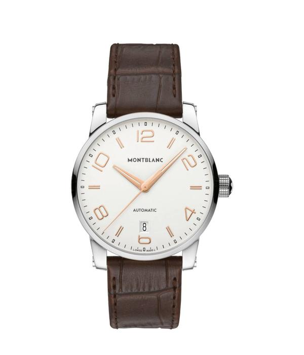 Montblanc TimeWalker Date Automatic 39mm Horloge Staal Zilver / Crocoleder