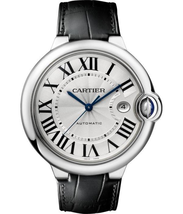 Cartier Ballon Bleu 42mm Horloge Staal / Zilver / Alligatorleder