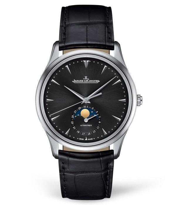 Jaeger-LeCoultre Master Ultra Thin Moon 39 Horloge Staal / Zwart / Alligatorleder
