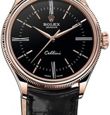 Rolex Cellini Time 39mm Horloge Roségoud / Zwart / Alligatorleder
