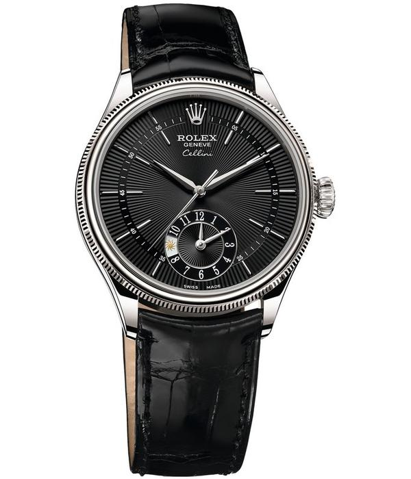 Rolex Cellini Dual Time 39mm Horloge Witgoud / Zwart / Alligatorleder