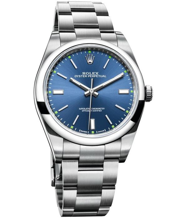 Rolex Oyster Perpetual 39mm Horloge Staal Blauw / Staal