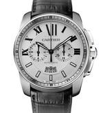 Cartier Calibre Chronograph 42mm Horloge Staal / Wit / Leder