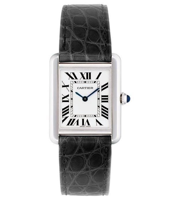 Cartier Tank Solo SM 30mm Horloge Staal / Zilver / Alligatorleder