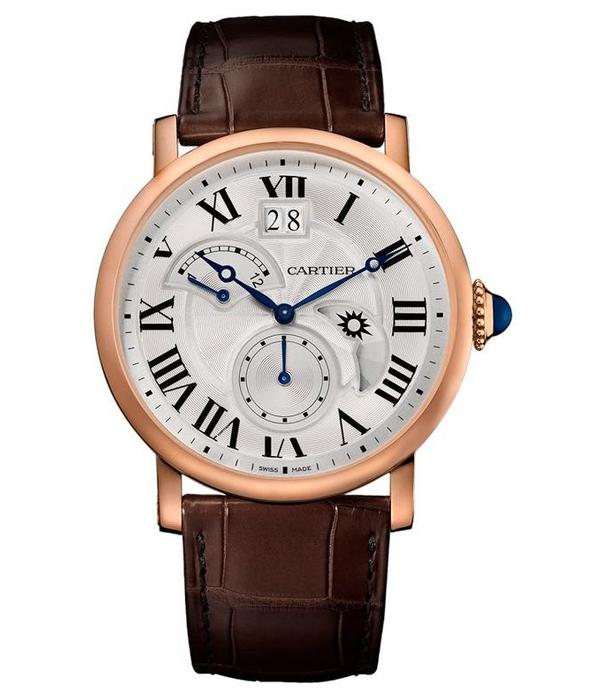 Cartier Rotonde 42mm Horloge Roségoud / Zilver / Alligatorleder