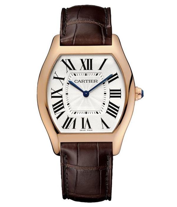 Cartier Tortue XFLAT LM 44mm Horloge Roségoud / Zilver / Alligatorleder