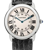 Cartier Ronde Solo LM 36mm Horloge Staal / Zilver / Alligatorleder