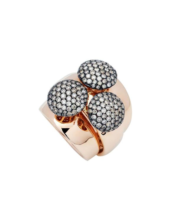 SC Highlights Ring 18K Rose Gold wide 3x round with Brown Diamond