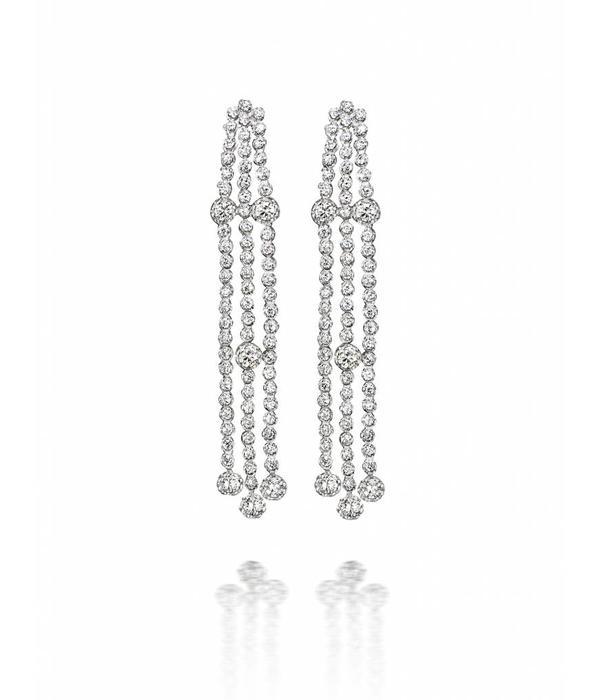 SC Highlights EarRing Drops White Gold 3 Rows Diamond