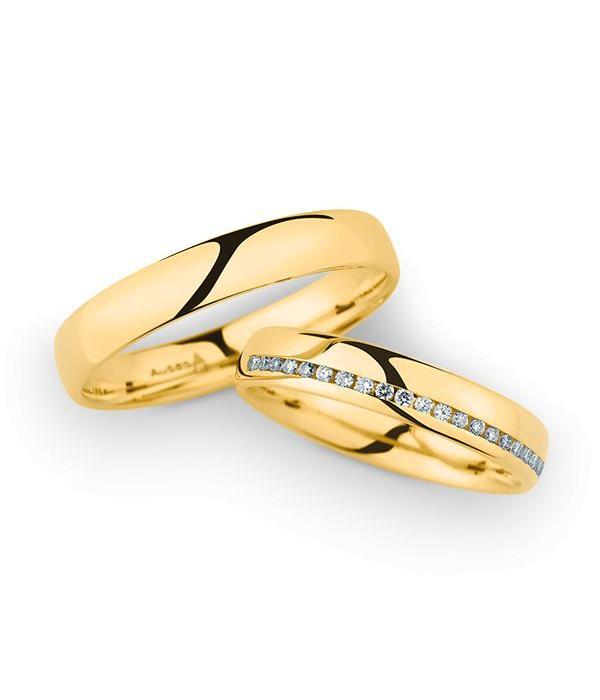 Christian Bauer Wedding Rings 14 Carat Yellow Gold 21 Brilliants