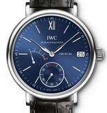 IWC Portofino Hand-Wound 45mm Horloge Staal / Blauw / Alligatorleder
