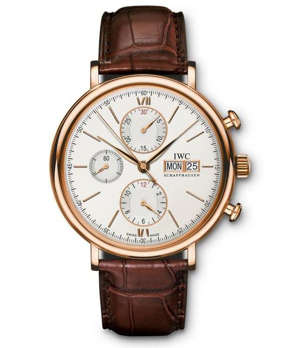 IWC Portofino Chronograph 42mm Horloge Roségoud / Zilver / Crocoleder
