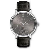 IWC Portofino Hand-Wound Big Date Horloge Witgoud Grijs / Crocoleder
