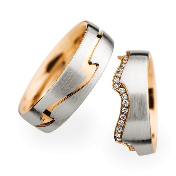 Wedding Rings 18 Carat Rose Gold 48 Brilliants
